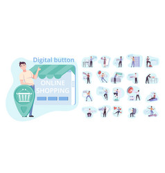 people and buttons set vector image