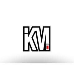 Red and black alphabet letter km k m logo vector