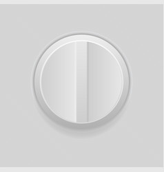 round control button on and off gray plastic vector image