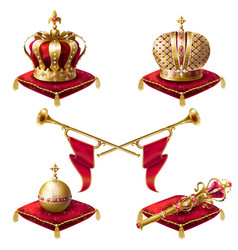 royal golden crowns fanfares scepter and orb vector image