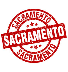 Sacramento red round grunge stamp vector