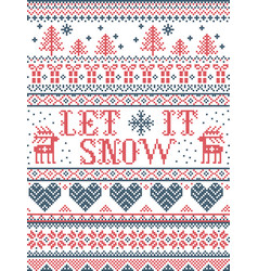 Seamless christmas pattern let it snow stitched vector