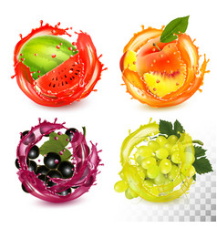 set fruit in juice splash peach black vector image