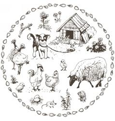 set hand drawn farm animals vector image