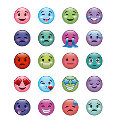 set of smiley icons with different face expression vector image