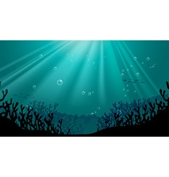 Silhouette underwater scene with coral reef vector