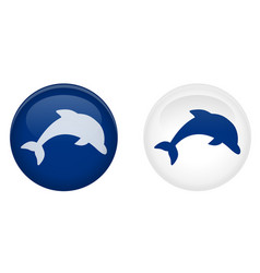 simple dolphin button jumping fish symbol in vector image