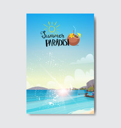 summer beach landscape sunrise vacation badge vector image