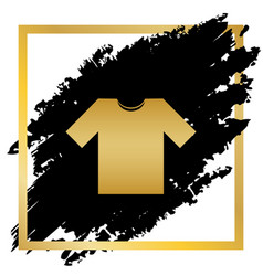 T-shirt sign golden icon at vector