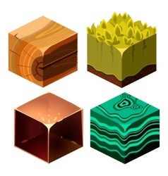 Textures for Platformers Icons Cubical Set vector