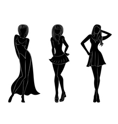 Three slim attractive women silhouettes vector image