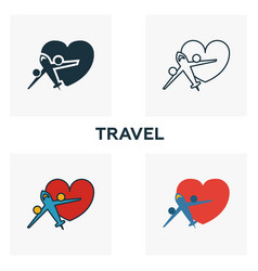Travel icon set four elements in diferent styles vector