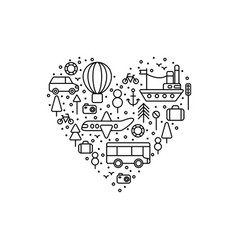 travel love set of icons vector image