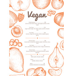 vegetarian cafe menu hand drawn design vector image