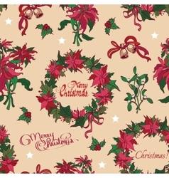 Vintage Christmas Flowers Bells Seamless vector image