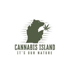 vintage retro bear cannabis island logo vector image