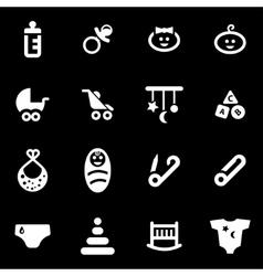 white baby icon set vector image