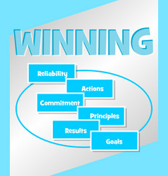 Winning strategy business concept in simple blue vector