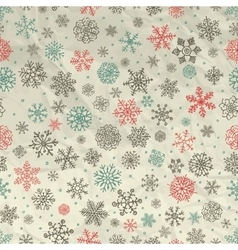 Winter Snow Flakes Seamless Background on Crumpled vector