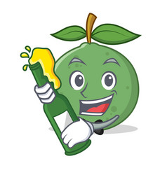 With beer guava mascot cartoon style vector