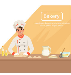 With man baker character kneading vector