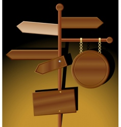 Wooden direction signs vector