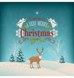 Christmas Retro Greeting Card vector image vector image