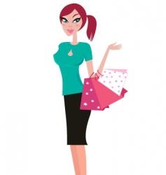 girlk shopping vector image