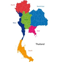 Map of Kingdom of Thailand vector image vector image