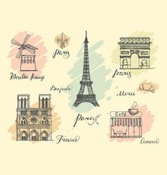 paris sketches collection vector image