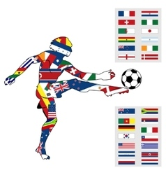 Silhouette figures football player vector image vector image