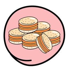 Stack of Macaroons on Round Pink Background vector image vector image