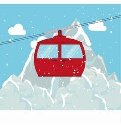 Cable way snow mountain design vector