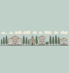 seamless horizontal ornament old european city vector image vector image