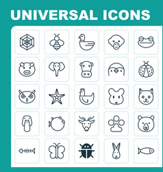zoology icons set collection of grizzly duck vector image vector image