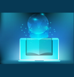 laptop app library electronic book for education vector image vector image