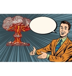Nuclear explosion lecture on radiation safety vector image vector image