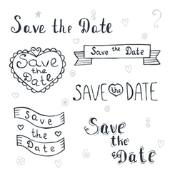 Save the date wedding invitation romantic set with vector