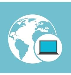 social media laptop global map vector image vector image