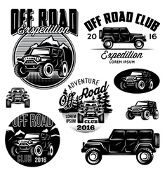 Templates for suvs off-road sport club vector