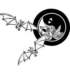 Two bats and Moon vector image vector image