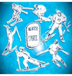 Winter sports skier scetch vector image