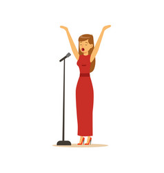 beautiful woman singer in red dress performing a vector image vector image