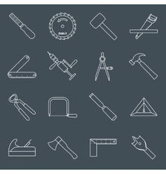 Carpentry tools icons outline vector image vector image