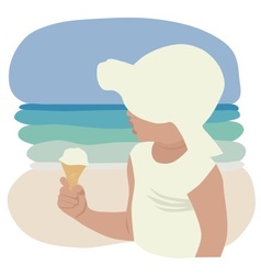 child in sunhat eating ice cream vector image