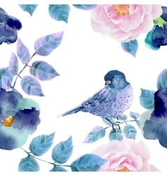 Watercolor seamless pattern with flowers and vector image vector image