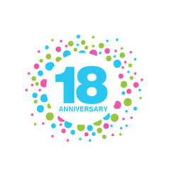 18th anniversary colored logo design happy vector