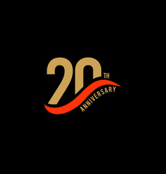 20 year anniversary gold template design vector