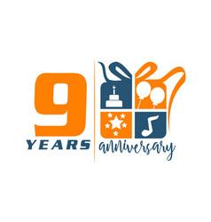 9 years gift box ribbon anniversary vector