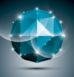 Abstract 3D sapphire festive sphere with sparkles vector image